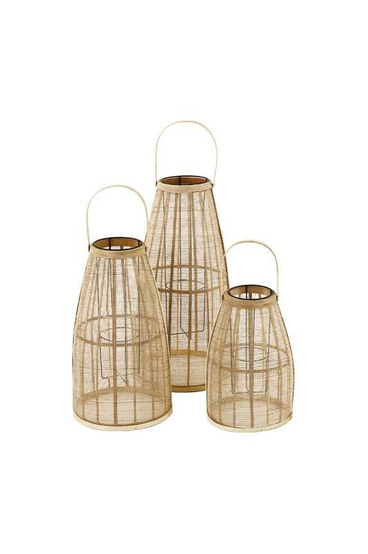 Lanterna in bamboo con portacandela